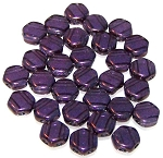 30 Czech Glass 6mm Honeycomb Hex 2-Hole Beads - Tanzanite Vega