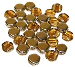 30 Czech Glass 6mm Honeycomb Hex 2-Hole Beads - Topaz Amber