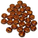 30 Czech Glass 6mm Honeycomb Hex 2-Hole Beads - Topaz Bronze Picassso
