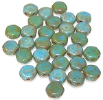 30 Czech Glass 6mm Honeycomb Hex 2-Hole Beads - Turquoise Blue Picasso