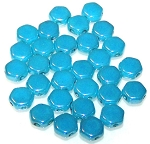 30 Czech Glass 6mm Honeycomb Hex 2-Hole Beads - Turquoise Blue Shimmer