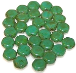 30 Czech Glass 6mm Honeycomb Hex 2-Hole Beads - Turquoise Green Dark Travertine