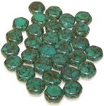 30 Czech Glass 6mm Honeycomb Hex 2-Hole Beads - Turquoise Green Luster