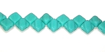 40 Czech Glass Silky 2-Hole 6mm Beads - Turquoise Green