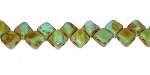 40 Czech Glass Silky 2-Hole 6mm Beads - Turquoise Travertine