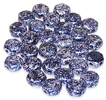 30 Czech Glass 6mm Honeycomb Hex 2-Hole Beads - Tweedy Blue