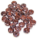 30 Czech Glass 6mm Honeycomb Hex 2-Hole Beads - Tweedy Copper