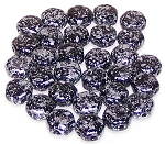 30 Czech Glass 6mm Honeycomb Hex 2-Hole Beads - Tweedy Silver