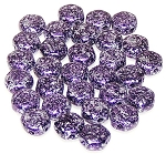 30 Czech Glass 6mm Honeycomb Hex 2-Hole Beads - Tweedy Violet