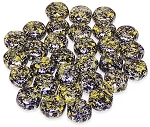 30 Czech Glass 6mm Honeycomb Hex 2-Hole Beads - Tweedy Yellow