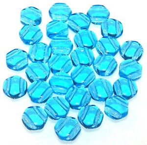 30 Czech Glass 6mm Honeycomb Hex 2-Hole Beads - Aqua