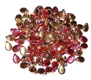 25 Czech Pip Beads - Jet California Gold Rush