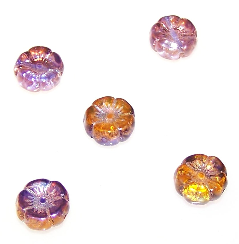 Czech Glass - 12mm Hawaii Pressed Flower Beads