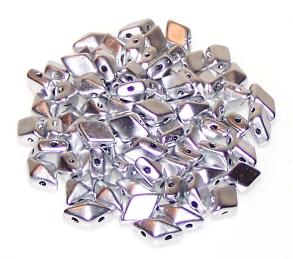 Aluminum Diamonduo Czech Glass Beads