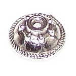 25 Antique Silver 5x11mm Round Bead Caps