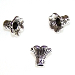 10 Antique Silver-Plated 9x12mm Tulip Bead Caps