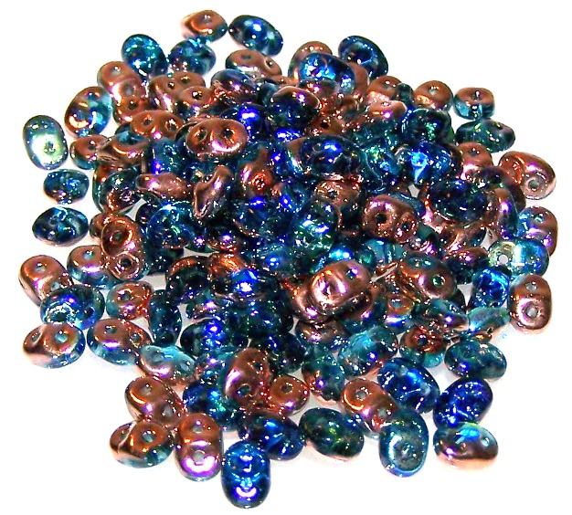 Aqua Copper Rainbow Czech Glass Superduo Beads