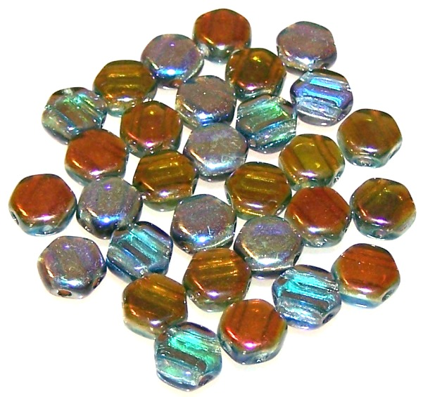 Aqua Orange Rainbow Czech Glass Honeycomb Hex Beads