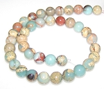 1 Strand of 10mm Round Semiprecious Gemstone Beads - Aqua Terra Jasper