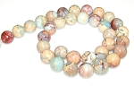 6 Aqua Terra Jasper 12mm Round Semiprecious Gemstone Beads