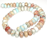 1 Strand of 12x8mm Puff Rondelle Semiprecious Gemstone Beads - Aqua Terra Jasper