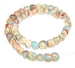 1 Strand of 7x10mm Irregular Nuggets Semiprecious Gemstone Beads - Aqua Terra Jasper