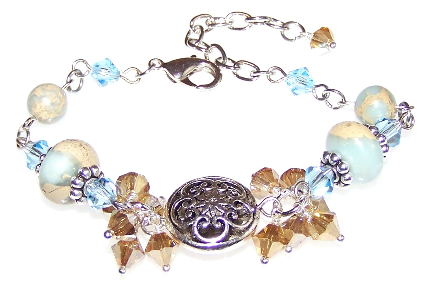 Aqua Terra Jasper Gemstone Bead Bracelet