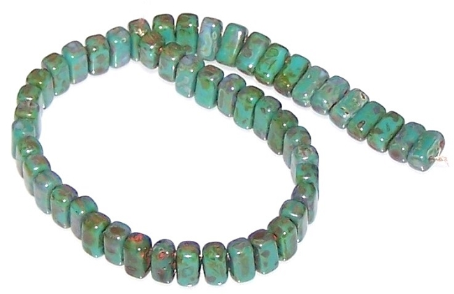 Persian Turquoise Picasso CzechMates Czech Glass Brick Beads