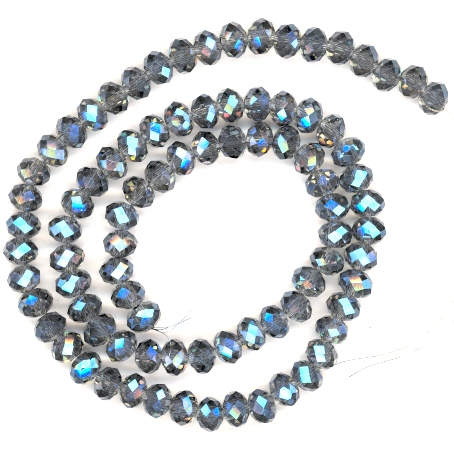 Montana Blue Sparkle AB 6x4mm Glass Crystal Rondelle Beads