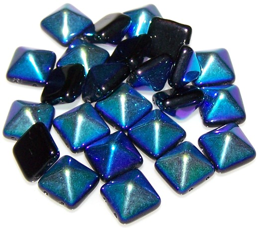 Jet AB Czech Glass 12mm Pyramid Stud Beads