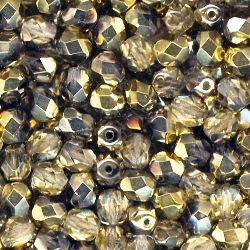 Crystal Amber 6mm Czech Fire-Polished