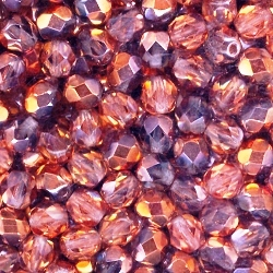 Crystal Sunset 6mm Czech Fire Polished Beads