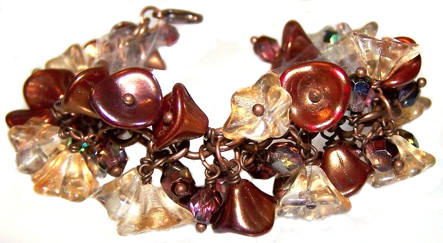 Czech Glass Flower Beaded Bracelet