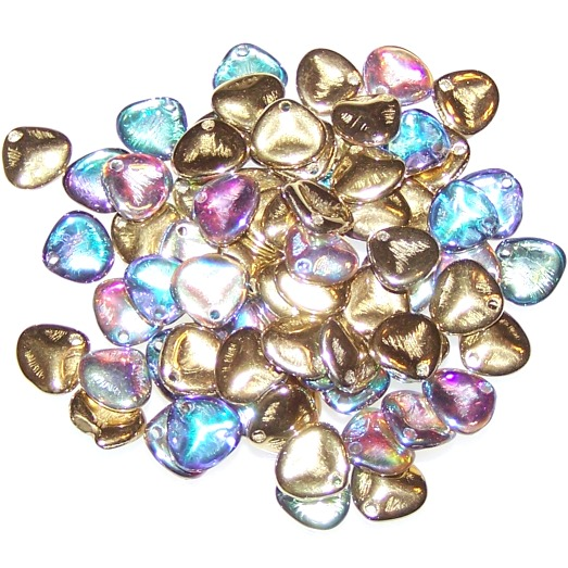 Crystal Golden Rainbow 8x7mm Czech Glass Rose Petal Beads