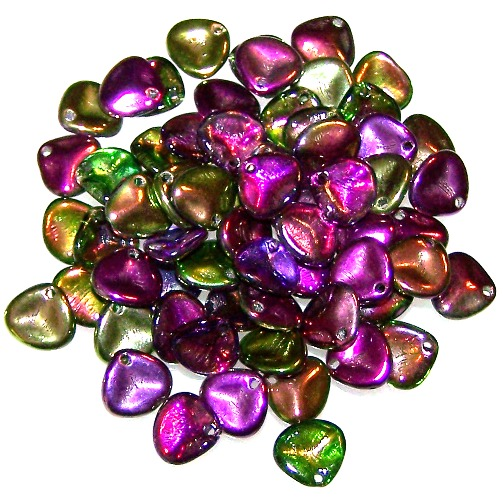 Crystal Magic Orchid 8x7mm Czech Glass Rose Petal Beads