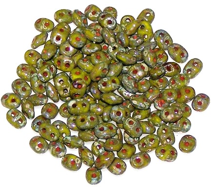 Opaque Green Picasso Czech Glass Superduo Beads