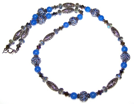 Blue Beauty Necklace Free Beaded Jewelry Making Pattern