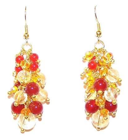 Citrine and Carnelian Flames Free Earrings Pattern