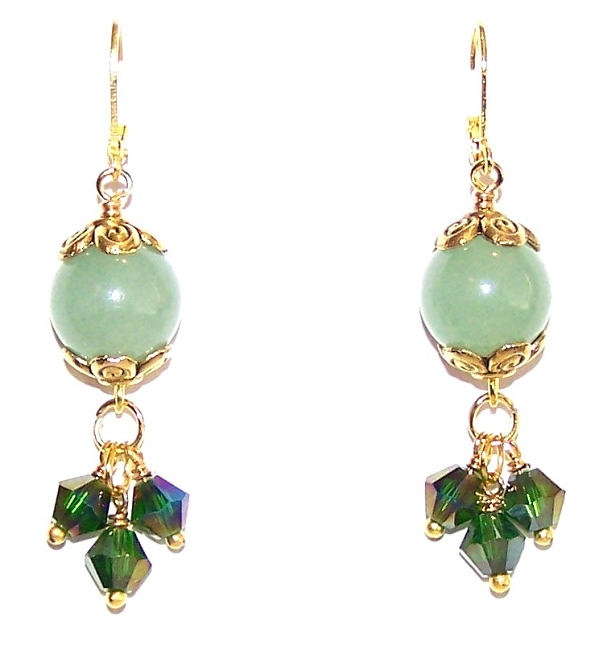 Beaded Earrings that feature Aventurine Semiprecious Gemstone Beads