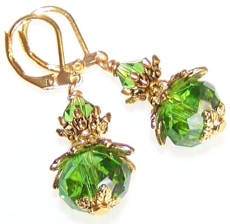 Emerald Luster Earrings Free Beaded Jewelry Making Pattern