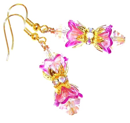 Glowing Flowers Beaded Earrings Free Pattern