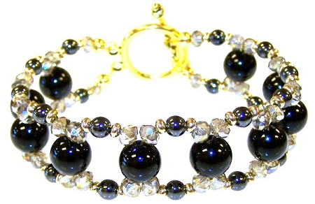 Onyx and Hematite Beauty Bracelet Free Beaded Jewelry Making Pattern