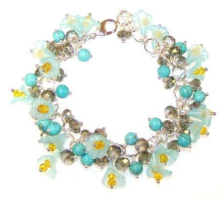 Turquoise Temptation Bracelet featuring 6mm round Turquoise Colored Howlite Beads