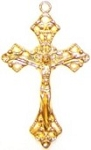 5 Pack of Gold-Plated Pewter Crucifix #63 - 48x29mm