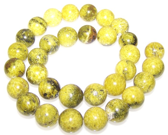 Yellow Matrix Jasper also known as Yellow Turquoise Semiprecious Gemstone Beads - 12mm Rounds