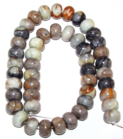 Picasso Jasper 12x8mm Semiprecious Gemstone Puff Rondelle Beads
