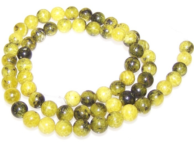 Yellow Matrix Jasper also known as Yellow Turquoise Semiprecious Gemstone Beads - 6mm Rounds