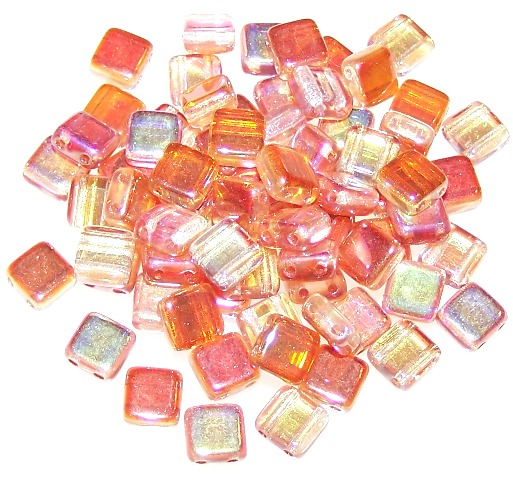 Crystal Orange Rainbow 6mm Czech Glass Tile Beads