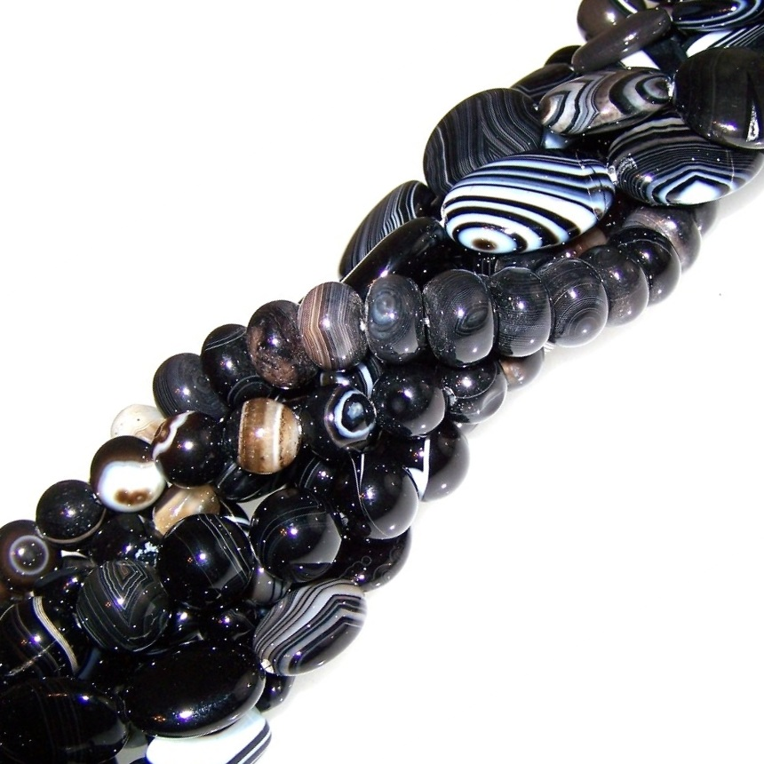 Black Striped Agate Beads