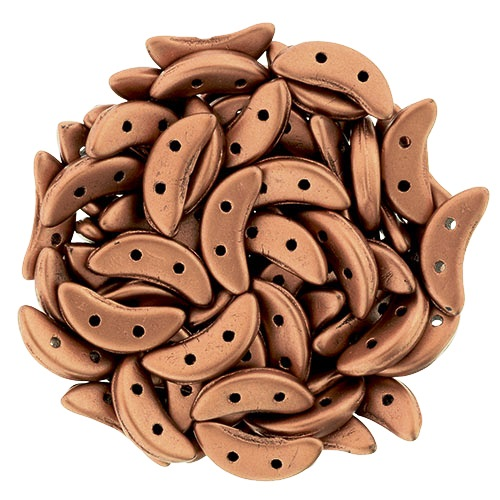 Bronze Copper Czech Glass Crescent Beads